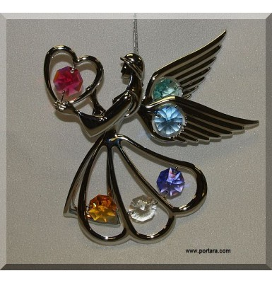 Angel & Heart Chrome Plated with Austrian Crystals Hanging Ornament Gift Favor