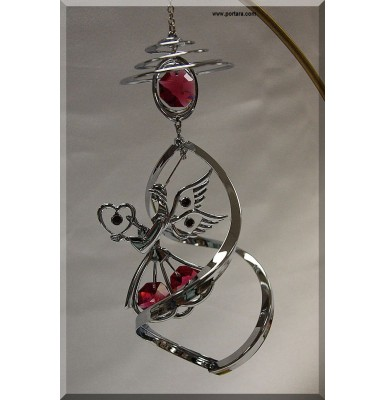 Angel with Heart and Austrian Crystals Chrome Plated Spiral Hanging Ornament