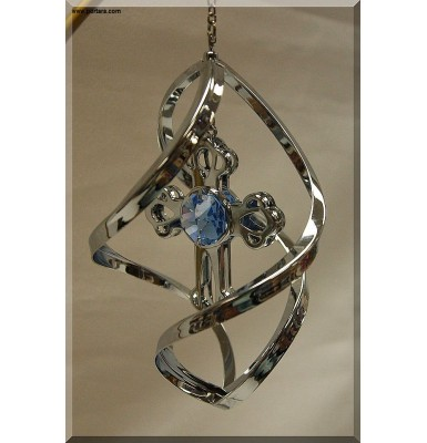 Chrome Plated Cross with Austrian Crystals Spiral Hanging Ornament