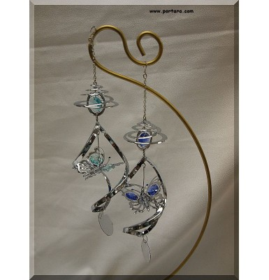 Butterfly with Austrian Swarovki Crystals Spiral Hanging Ornament