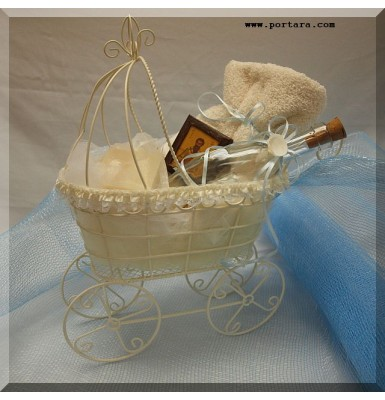 Adorable Ivory Baby Carriage Oil Basket ~ Unisex