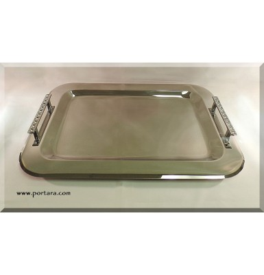 European Stainless Steel Tray with Clear Crystals