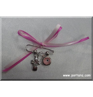 A Safety Pin with Pink Accents Christening Witness Pins Martirika