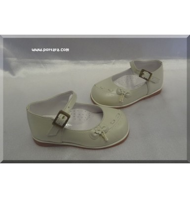 Flower Baby Girl Ivory Baptism Shoes