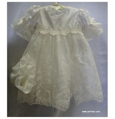 Anastasia Silk Christening Baptism Dress or Gown