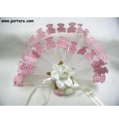 Baby Pink Gingham Teddy Bear Favor Bomboniere