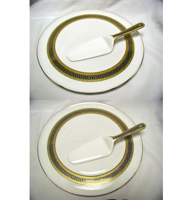 Cake Set with Greek key Design Border