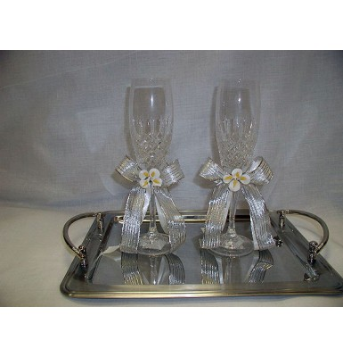 Crystal Flutes with Porcelain Calla Lillies