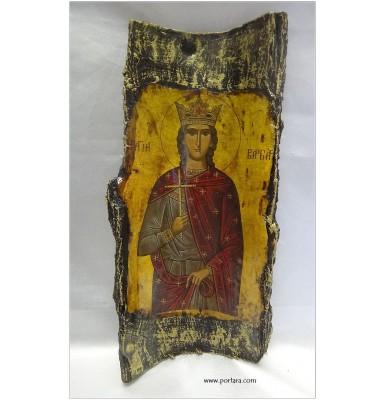 Saint Barbara (Agia Varvara) Icon on Real Bark ~ Orthodox Icon