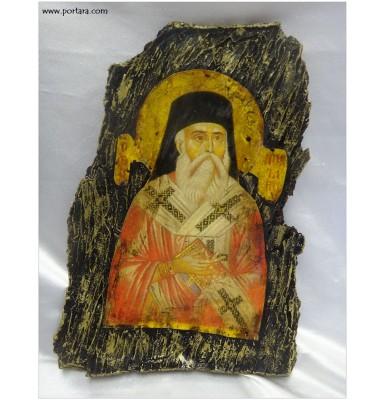 Saint Nectarios Orthodox Icon on Real Bark