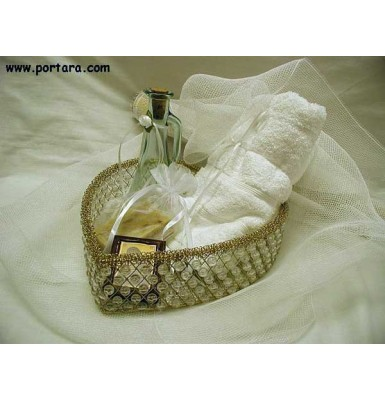 Golden Heart with Beads Baptism Anointing Oil Basket