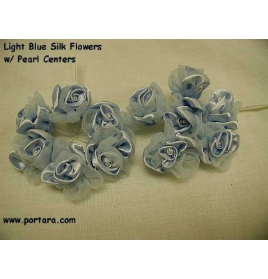 Light Blue Silk Flowers with Pearl Centers