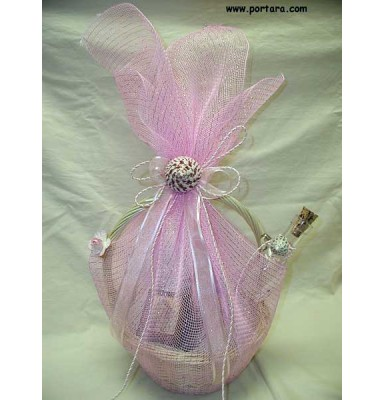 Light Pink Baptism Oil Basket Set