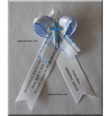 Light Blue and White Dowble Bow Christening/Baptism Witness Pins/Martirika