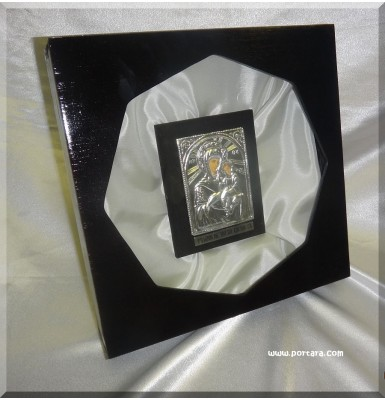 Silver Beauty on Dark Wood Wedding Crown Case ~ Stefanothiki