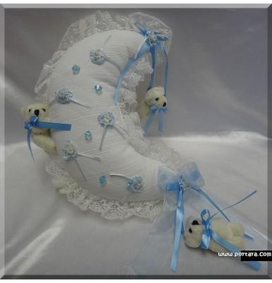 Baby Blue Hanging Moon Treasure Pillow