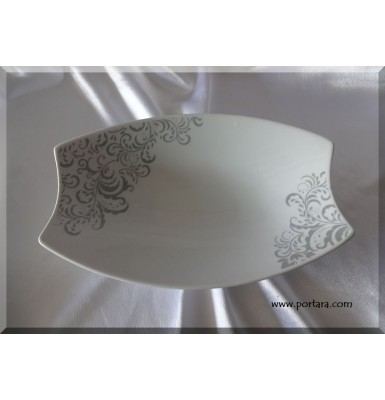 Fine Porcelain Oval Dish with Grey Damask Accens