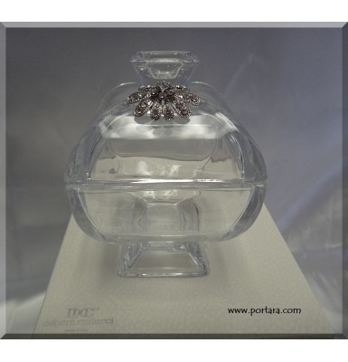 Fine Crystal Candy Dish with Lid Accented with Swarovski