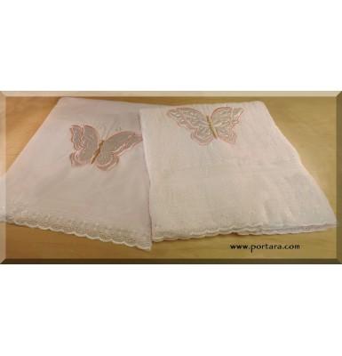 Butterfly White with Pink Baptismal Set ~ Lathopana
