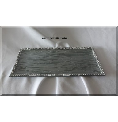 Exclusive Silver Bling Rctangular Tray Platter