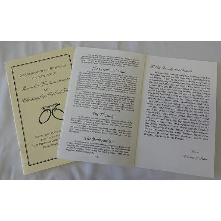 Wedding Ceremony Programs Pamphlets ~ White Color